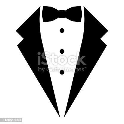 istock Symbol service dinner jacket bow Tuxedo concept Tux sign Butler gentleman idea Waiter suit icon black color vector illustration flat style image 1135553994