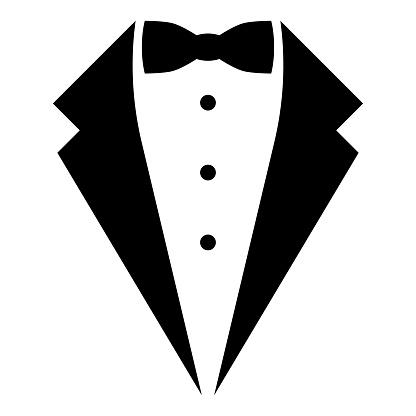 Symbol service dinner jacket bow Tuxedo concept Tux sign Butler gentleman idea Waiter suit icon black color vector illustration flat style simple image