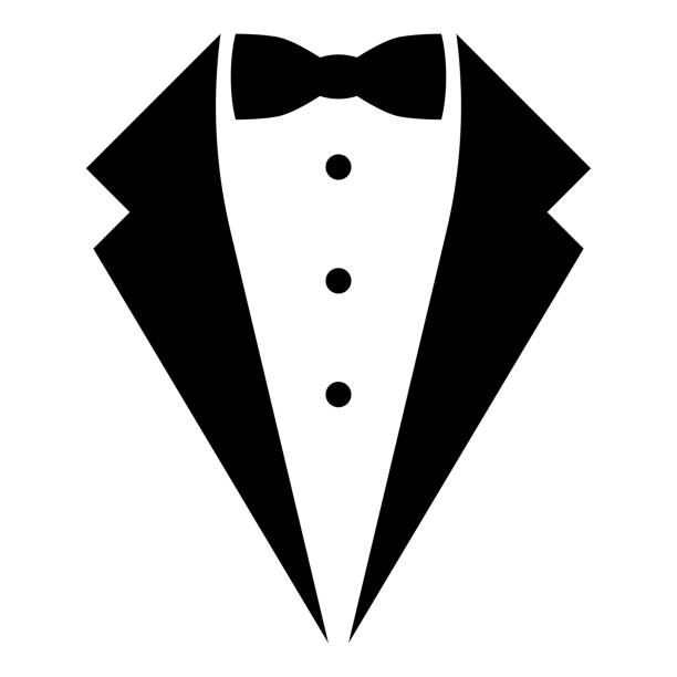Symbol service dinner jacket bow Tuxedo concept Tux sign Butler gentleman idea Waiter suit icon black color vector illustration flat style image Symbol service dinner jacket bow Tuxedo concept Tux sign Butler gentleman idea Waiter suit icon black color vector illustration flat style simple image formalwear stock illustrations