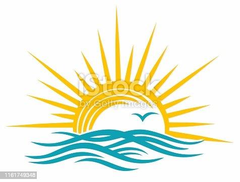 A sun dawn logo in the sea.