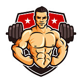 symbol template vector of Bodybuilder gym fitness theme, with muscle man character or mascot and barbell