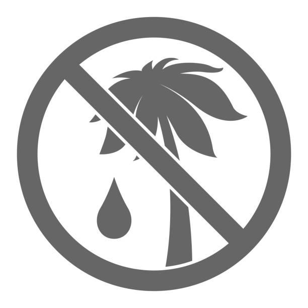ilustrações de stock, clip art, desenhos animados e ícones de palm oil free symbol. vector - oleo palma