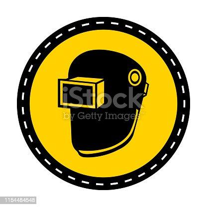 Symbol Wear Welding Helmet Isolate On White Background,Vector Illustration