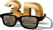 3D symbol with and three dimensional glasses  isolated on white background. Vector cinema poster element.