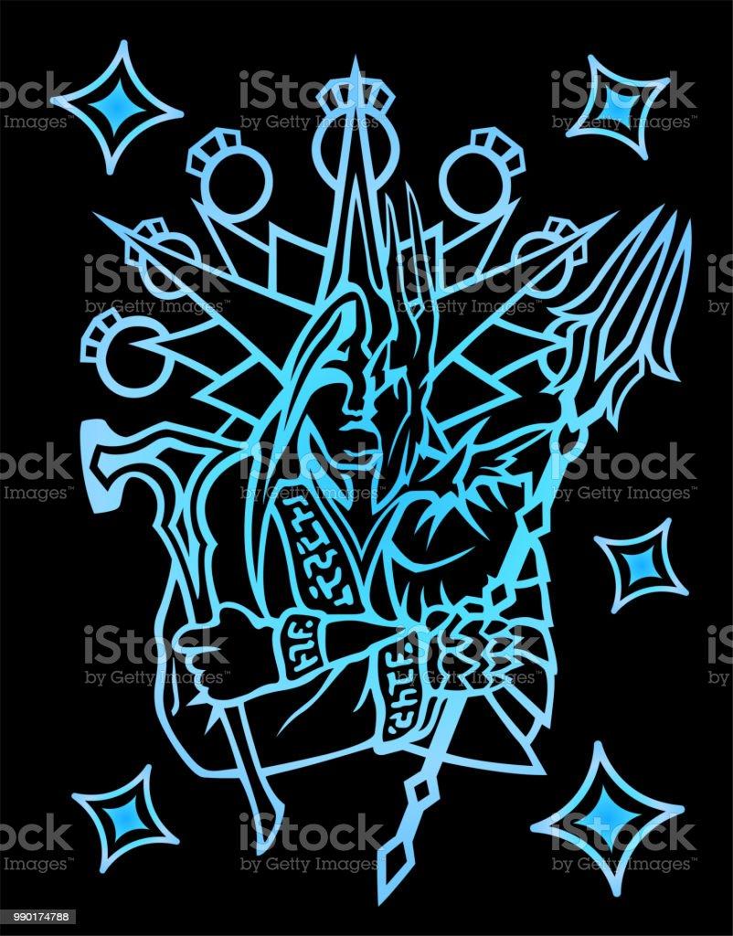 Symbol with medieval legendary warrior vector art illustration
