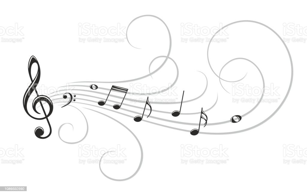 The stylized symbol with music notes.