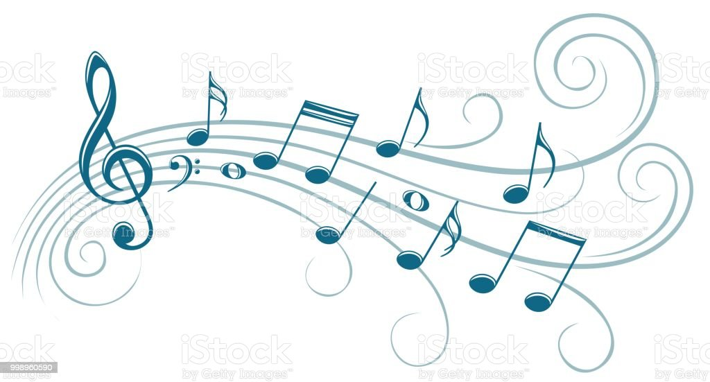 The stylized blue symbol with music notes.