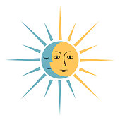 Symbol with sun and month on white background. Vector illustration.
