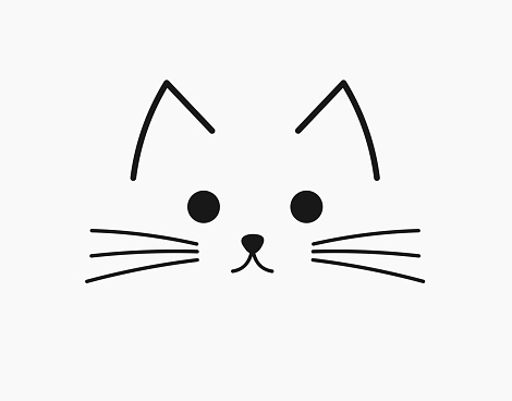 Symbolic cute cat face. Vector illustration.