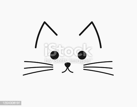 istock Symbolic cute cat face. 1204008191