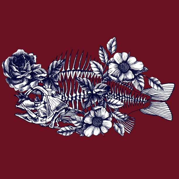 symbolische darstellung mit blühenden fisch skelett. - zigeunerleben stock-grafiken, -clipart, -cartoons und -symbole