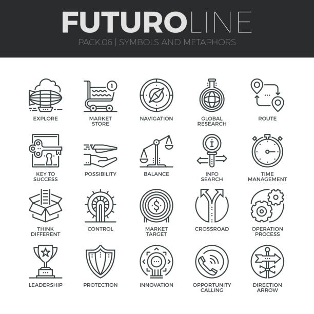symbols and metaphors futuro line icons set - opportunity stock illustrations