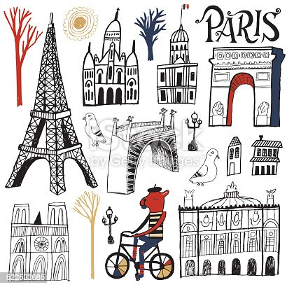 Vector file of hand drawn Paris buildings and monuments