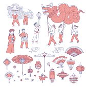 Symbols Chinese New year people in traditional costumes. Vector line art set lanterns talismans for holiday home decoration. National celebration parade and symbols of China culture