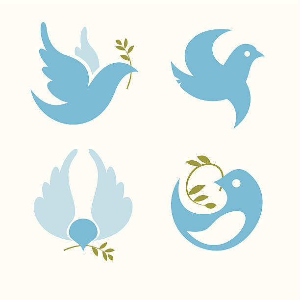 symbols dove of peace set of vector symbols dove of peace olive branch stock illustrations