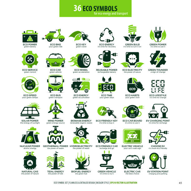 36 symbols for eco energy and transport collections of eco friendly flat symbols, high detailed icons, graphic design web elements, alternative ecological concept, isolated emblems on clean white background, logotype vector art illustration alternative fuel vehicle stock illustrations