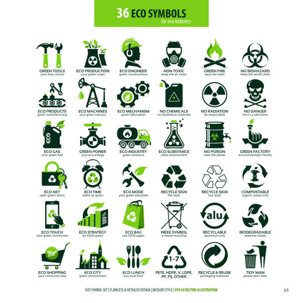 36 symbols for eco industry collections of eco friendly flat symbols, high detailed icons, graphic design web elements, alternative ecological concept, isolated emblems on clean white background, logotype vector art illustration poisonous stock illustrations