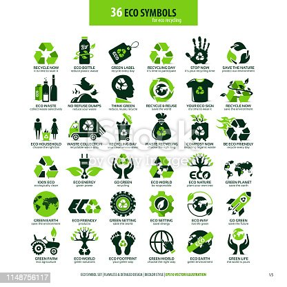 collections of eco friendly flat symbols, high detailed icons, graphic design web elements, alternative ecological concept, isolated emblems on clean white background, vector art illustration
