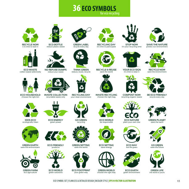 36 symbole für öko-recycling - sustainability stock-grafiken, -clipart, -cartoons und -symbole