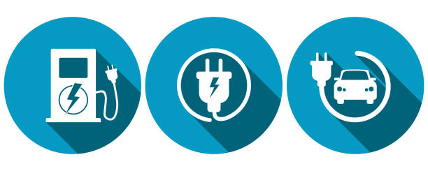 Symbols for electric car charging 3 round blue symbols with flat design, electric car charging station, cable with electric plug, car and electric plug hybrid vehicle stock illustrations