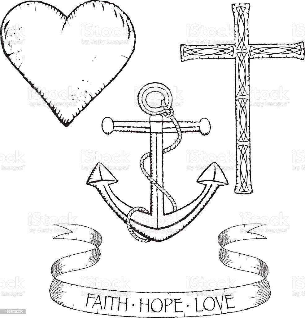 Symbole für glaube Hoffnung und Liebe – Vektorgrafik
