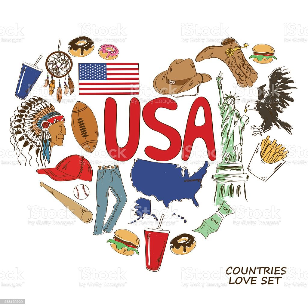 Usa Symbols In Heart Shape Concept Stock Vector Art More Images Of