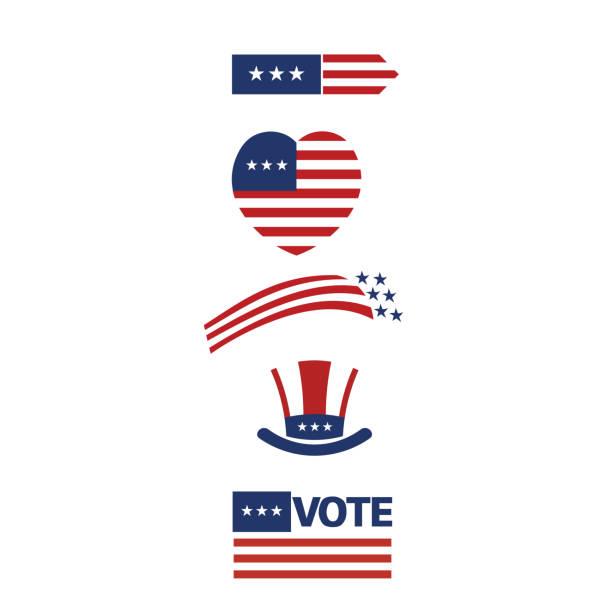 USA symbols logo stripes design elements. Vector grap vector art illustration
