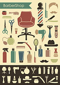 Symbols of a mans hairdressing salon in style of a retro