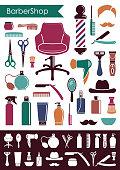 Symbols of a mans hairdressing salon