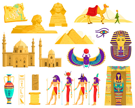 Symbols of ancient Egypt, architecture and archeology landmarks isolated on white, vector illustration