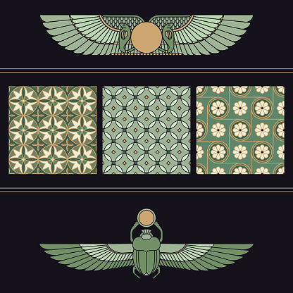 Symbols of ancient Egypt beetle-scarab and winged sun with a collection of seamless patterns for Egyptian motifs