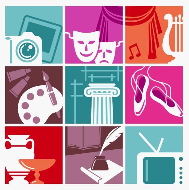 illustrations, cliparts, dessins animés et icônes de symboles des arts - camera sculpture