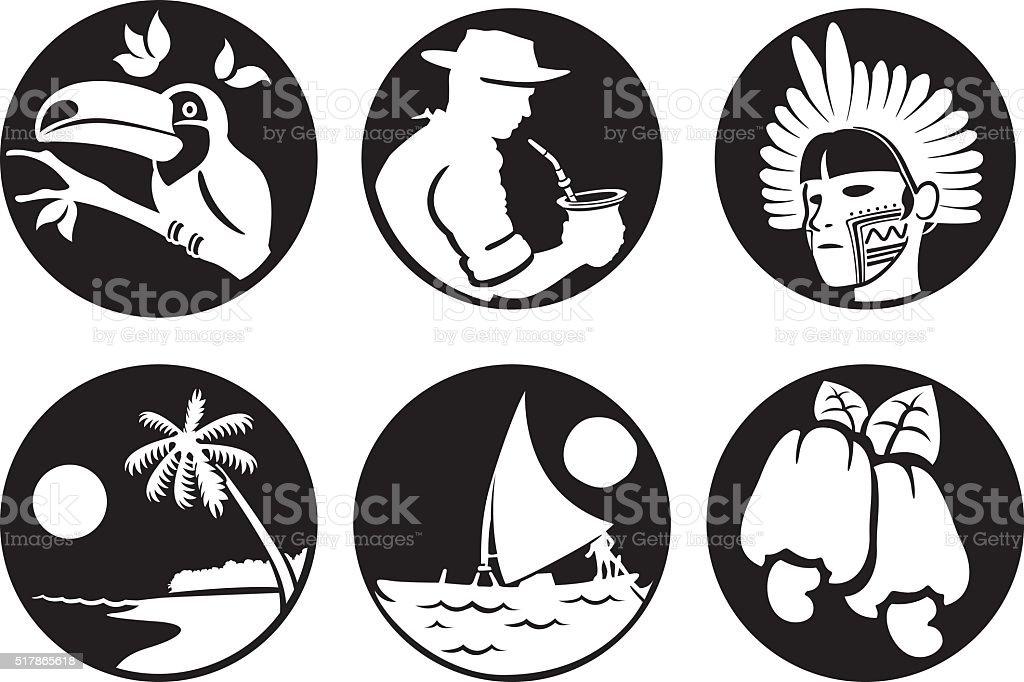 symbols of Brazil customs fauna and flora, Brazilian tourism vector art illustration
