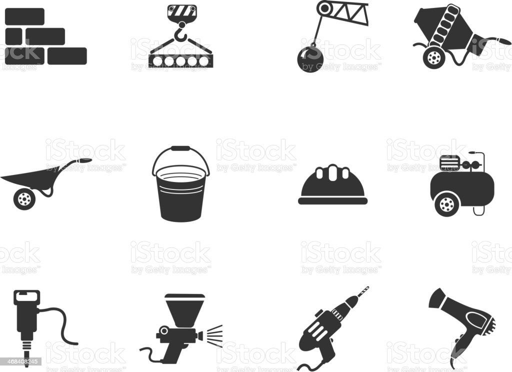 Symbols of building equipment vector art illustration