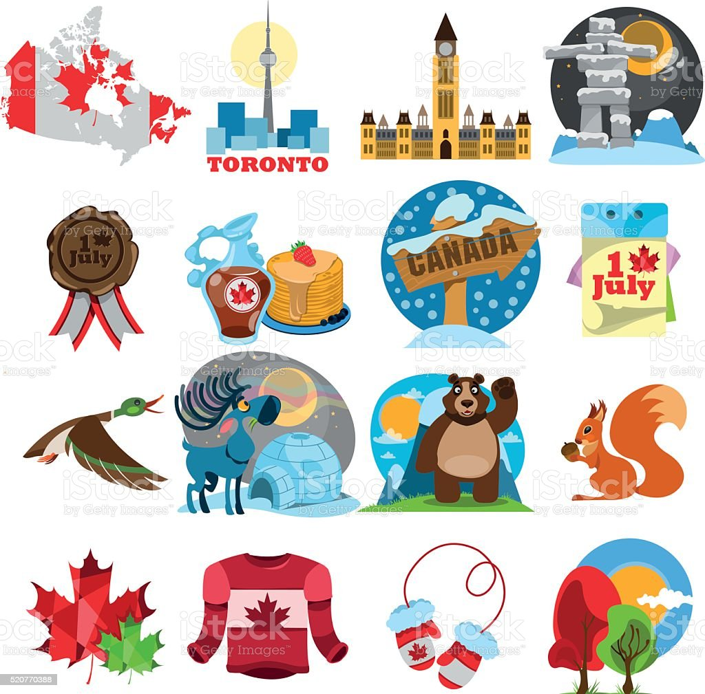 Symbols Of Canada Set Stock Vector Art & More Images of ...