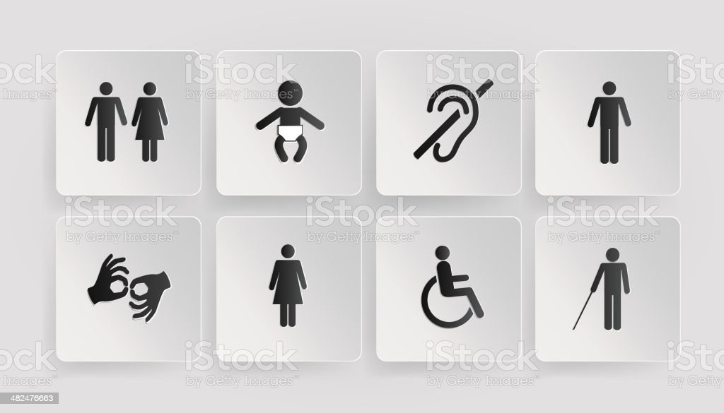 Symbols Of Disabled Toilets Baby Stock Vector Art More Images Of
