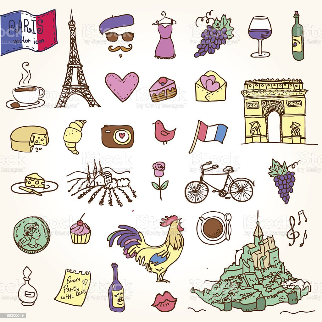 Symbols of france as funky doodles stock vector art more images symbols of france as funky doodles royalty free symbols of france as funky doodles stock biocorpaavc