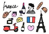 Symbols of France collection illustration