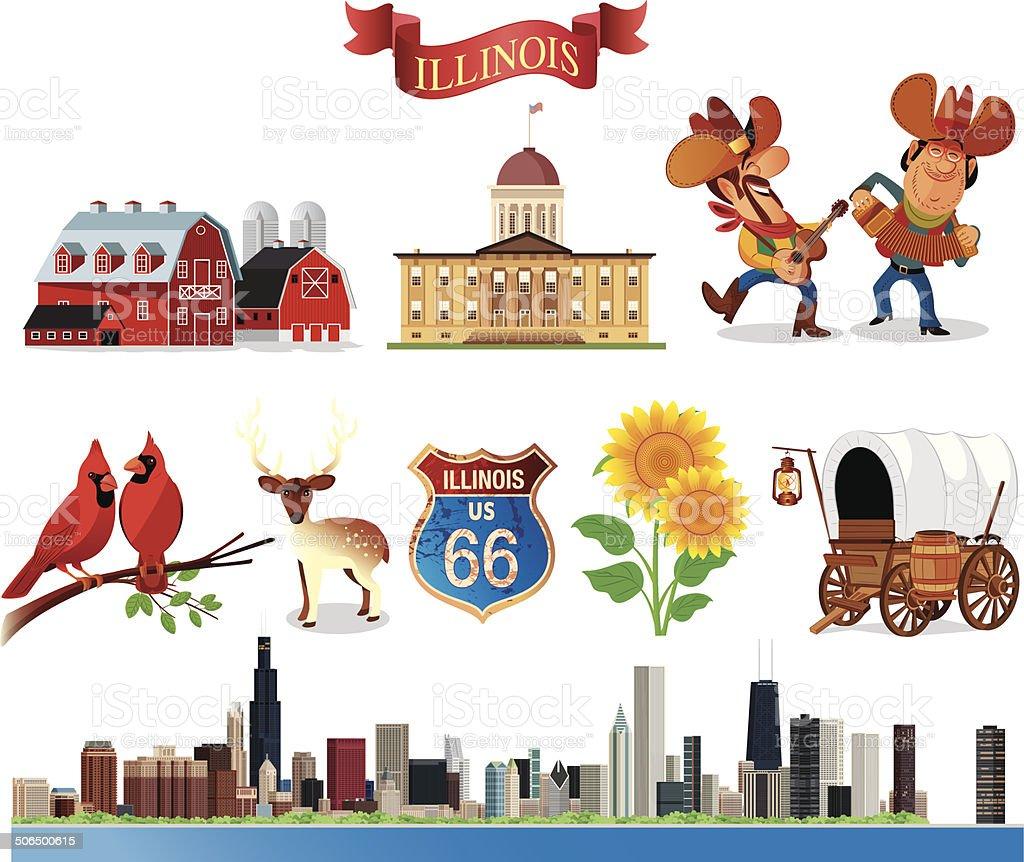 Symbols of Illinois vector art illustration