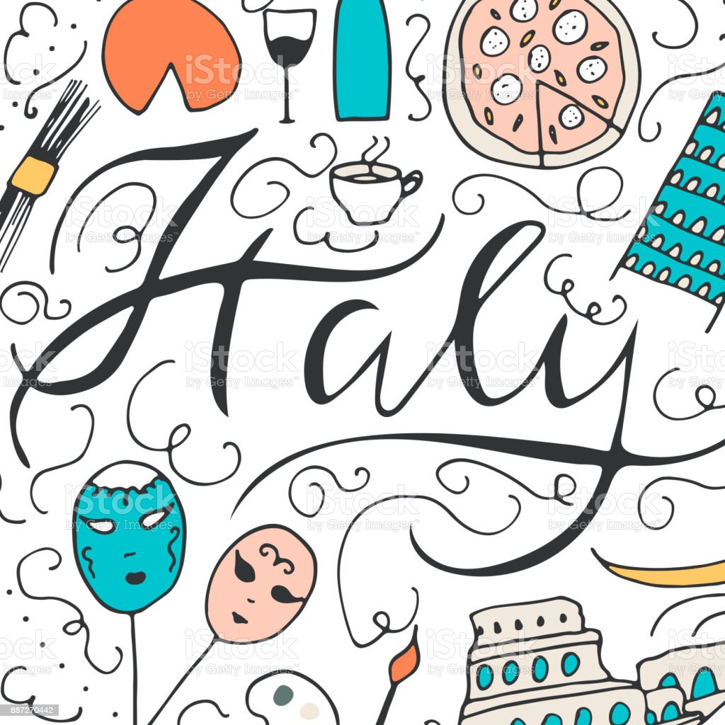 Symbols Of Italy Culture Of Italy Stock Vector Art More Images Of