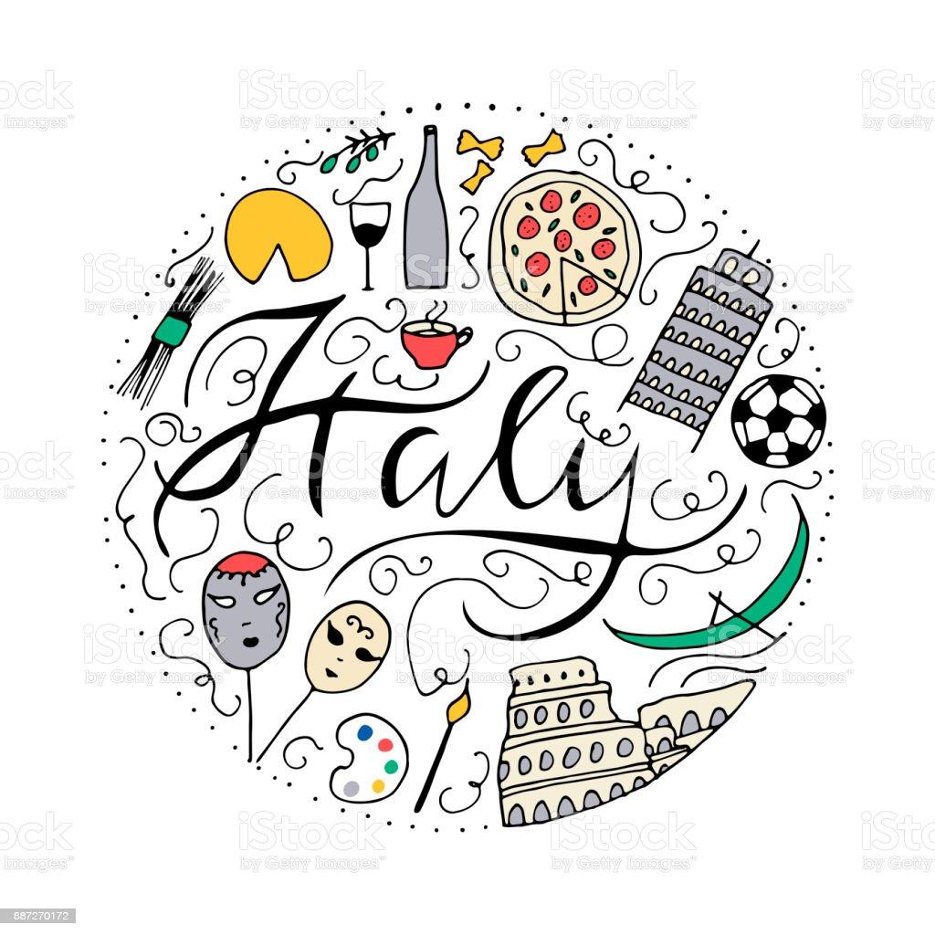 Symbols Of Italy Doodle Vector Elements Stock Vector Art More