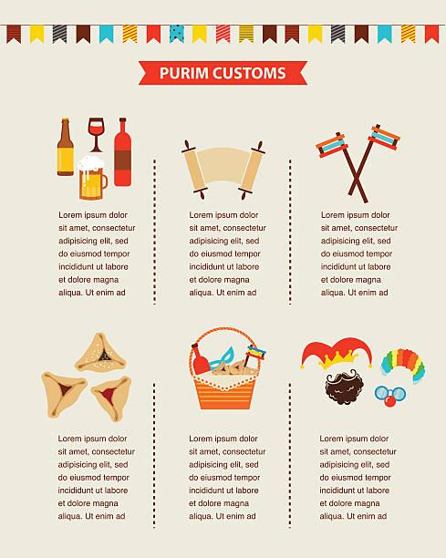 symbols of jewish holiday purim. infographics design - purim stock illustrations, clip art, cartoons, & icons