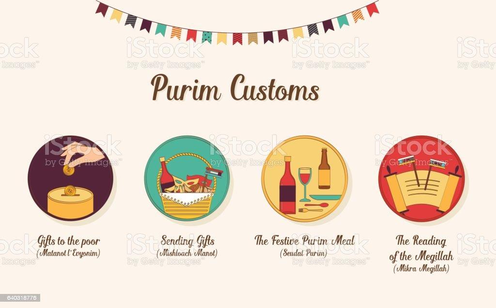 Symbols Of Jewish Holiday Purim Infographics Design Stock Vector Art