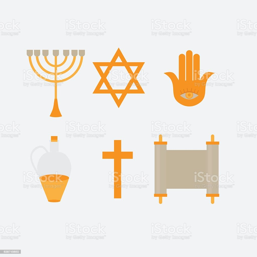 Symbols Of Judaism Minora David Star Anchovy And Scroll Stock Vector