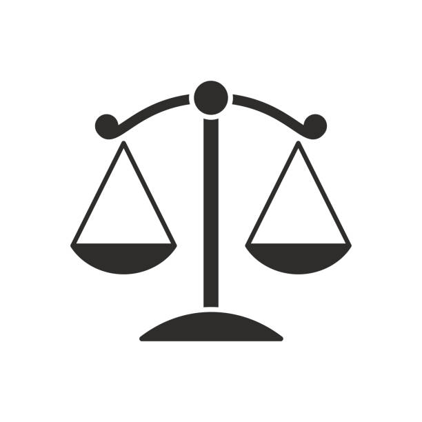 symbols of justice on white background - weight scale stock illustrations