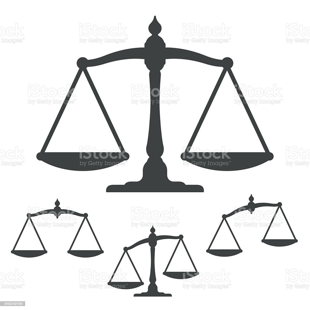 Symbols of justice on white background vector art illustration