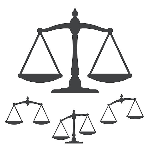symbols of justice on white background - balance stock-grafiken, -clipart, -cartoons und -symbole
