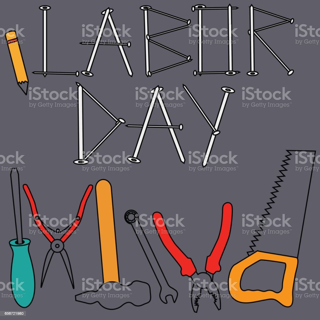 Symbols Of Labor Day Stock Vector Art More Images Of American