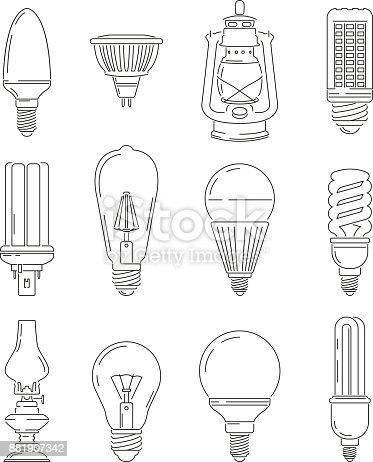 Symbole Des Lichts Verschiedene Glühbirnen Mono Line Illustrationen ...
