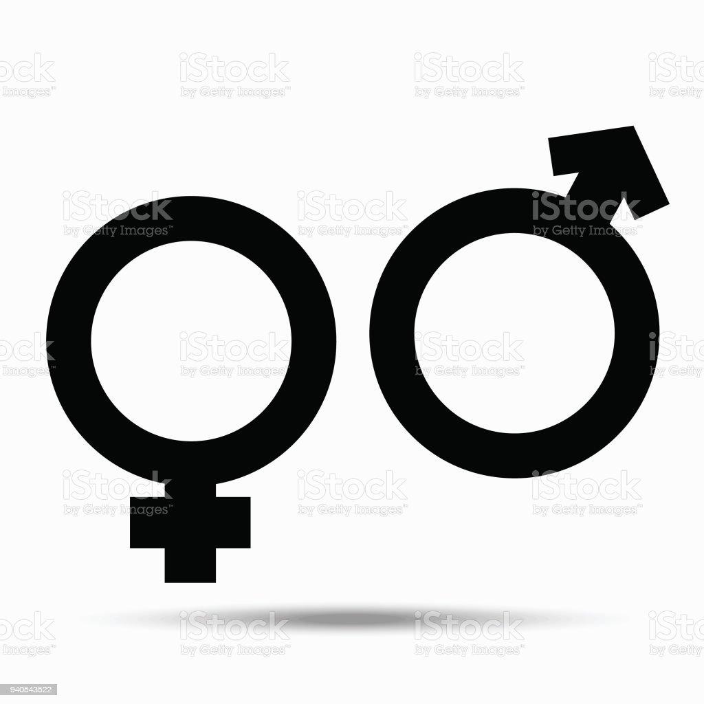 Symbols Of Male And Female Illustration On White Background Stock